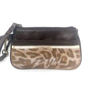 the sak Brown Leather Wristlet Leopard Print